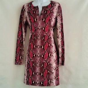 Diane Von Furstenberg Dress Magenta Snake Print 10